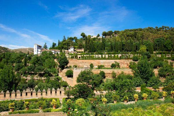 El palacio de Generalife , Vista del Palacio de Generalife , España