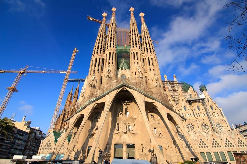Façade de la Sagrada Familia, Temple de la Sagrada Familia, Les monuments, Barcelone, Catalogne