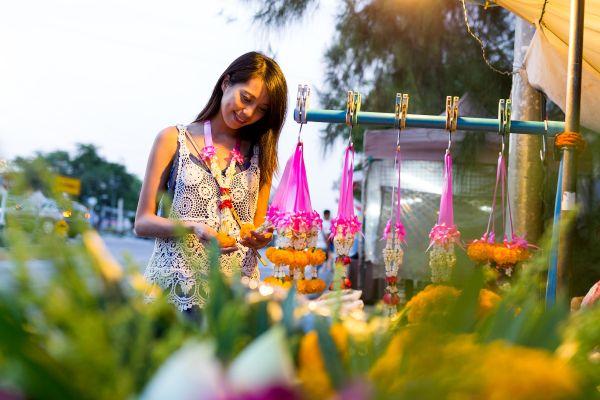 The flower markets, Thailand, Pak Khlong Talat, Arts and culture, Bangkok, Thailand