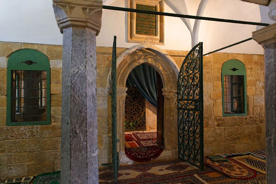 The mosque of Hala Sultan Tekke , The entrance to the tomb of Umm Haram , Cyprus