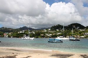 The Caribbean Coast , Saint Vincent seen from Young Island , Saint-Vincent and The Grenadines