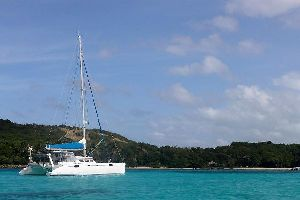 Sailboat rides , Catamaran in the Grenadine Islands , Saint-Vincent and The Grenadines
