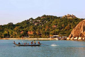 Koh Tao , Boats in the village of Thong Sala , Thailand