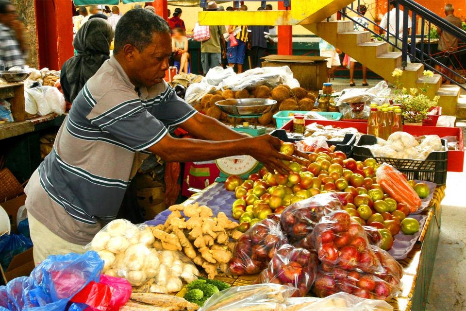 La gastronomía , El mercado de Victoria , Las Seychelles