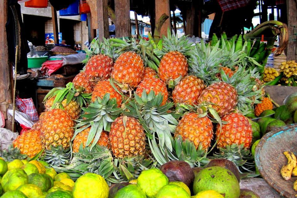El mercado de Victoria , Un sinfín de frutas , Las Seychelles