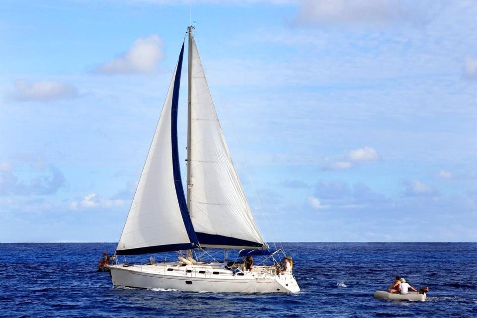 La navegación deportiva , Un velero , Las Seychelles
