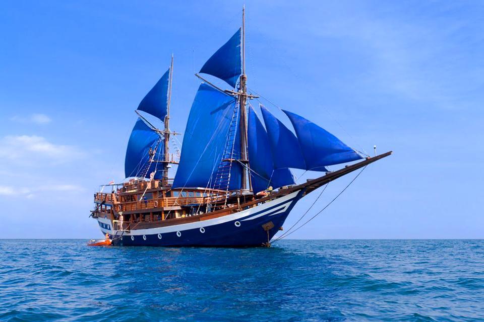 La navegación deportiva , Una goleta , Las Seychelles