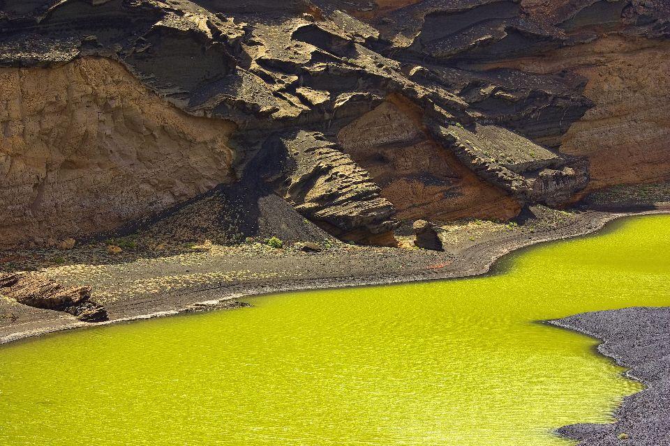 Lanzarote , La Lagune verte , Un ancien cratère volcanique , Espagne