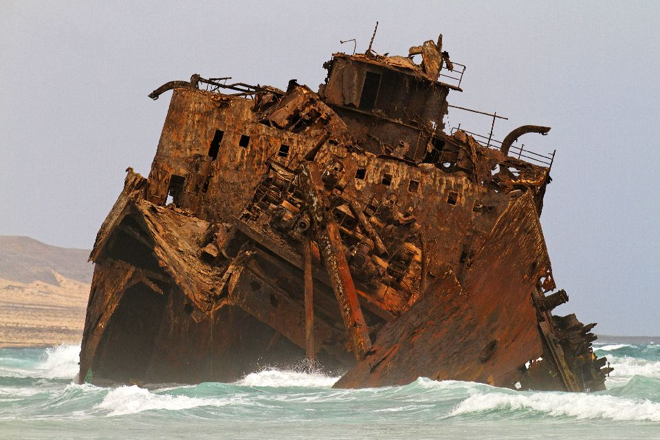 The wreckage of Cabo Santa Maria , A wreck on the beach. , Cape Verde