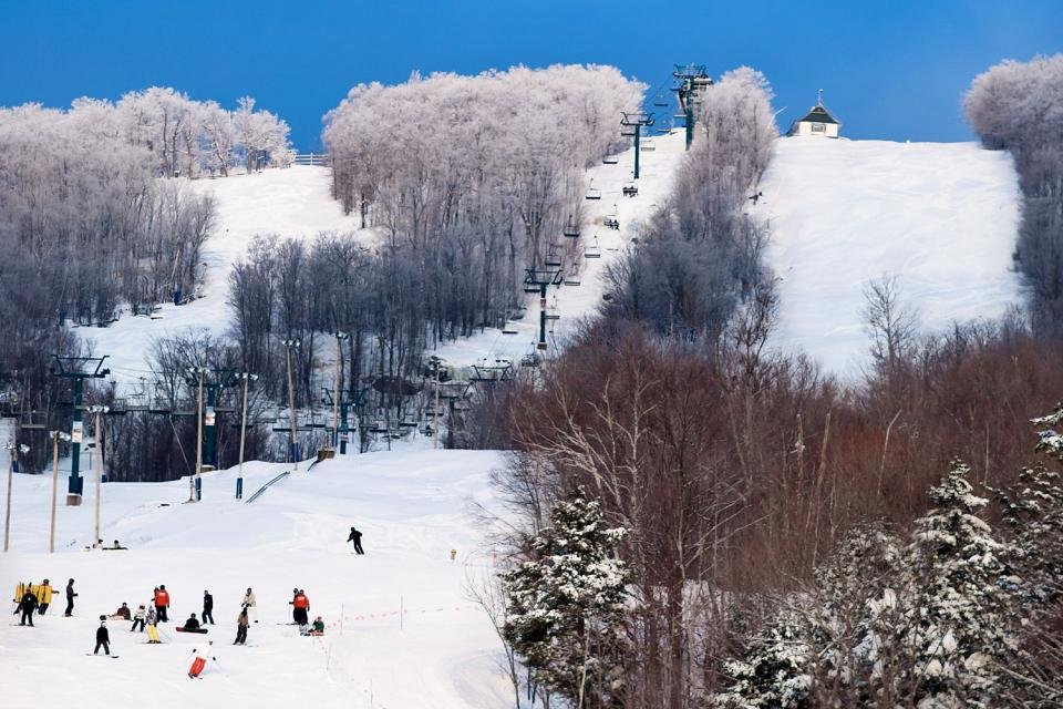 The region of Lanaudière , Skiing at Mont La Réserve, Canada , Canada