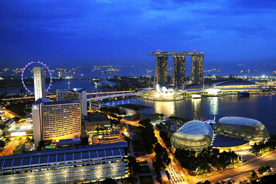 La skyline de Singapour , Singapour Flyer , Singapour