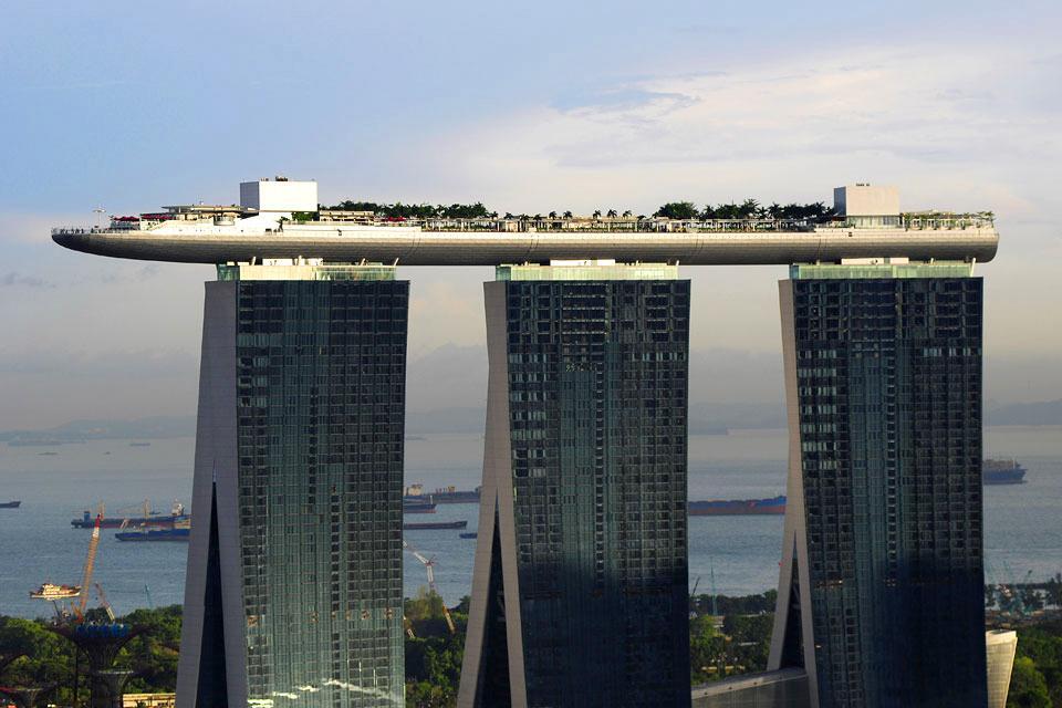 La skyline de Singapour , Marina Bay Sands , Singapour