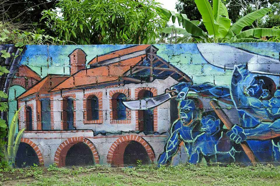 l'ancienne sucrerie de Boca de Nigua , Fresque murale , République dominicaine