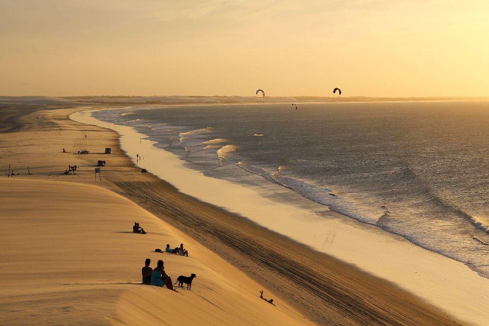 La plage de Jericoacoara , Superbe coucher de soleil. , Brésil