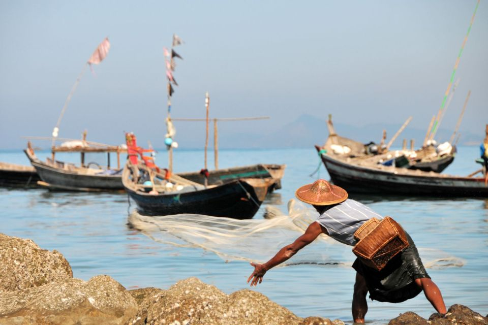 Les côtes, Myanmar, birmanie, asie, station, balnéaire, ngapali, ocean, pêcheur, filet, agriculture