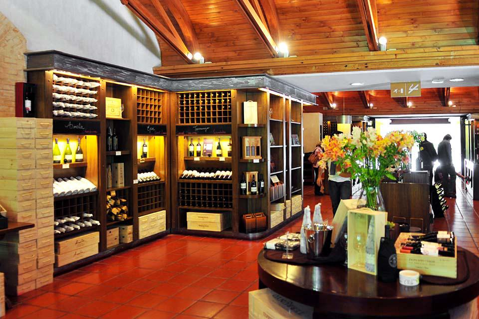 Les vignobles chiliens , Inside a winery shop. , Chile