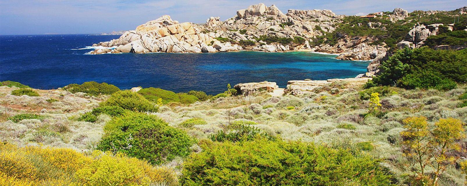 Le Capo Testa , Blick auf Korsika vom Capo Testa , Italien