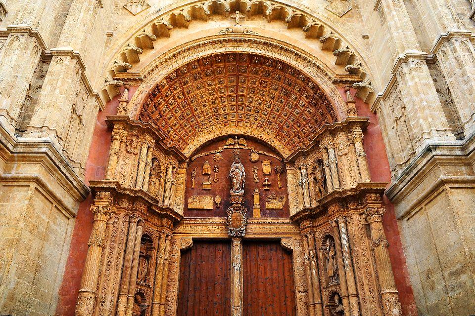 La cathédrale de Palma , Portail de la cathédrale de Palma , Espagne