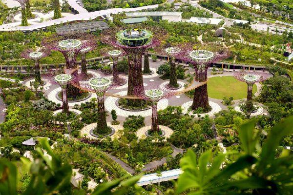 Le parc Gardens by the Bay , Structures futuristes , Singapour