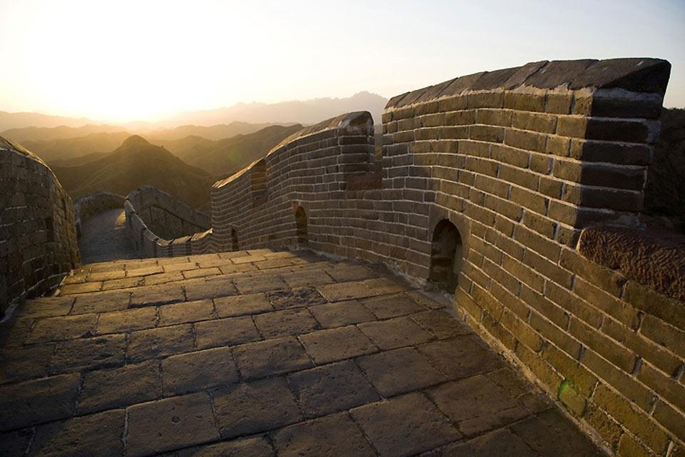 La Grande Muraille , Coucher de soleil sur la Grande Muraille , Chine