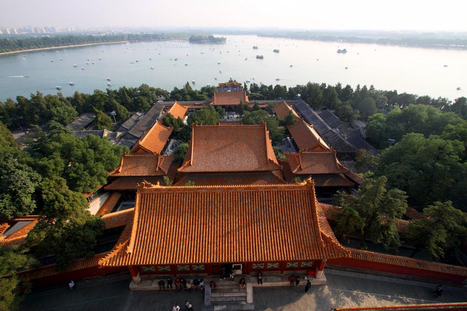 Le Palais d'Eté , Vue aérienne d'un palace du palais , Chine