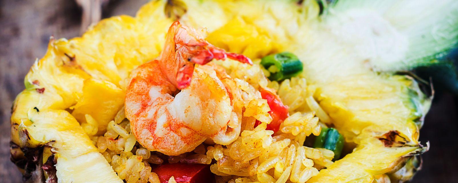 La gastronomie, alimentation, nourriture, USA, amérique, etats-unis, recette, hawaii, hawaii, ananas, riz, crevette