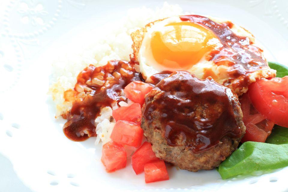 La gastronomie, alimentation, nourriture, USA, amérique, etats-unis, recette, hawaii, hawaii, loco moco, viande, oeuf