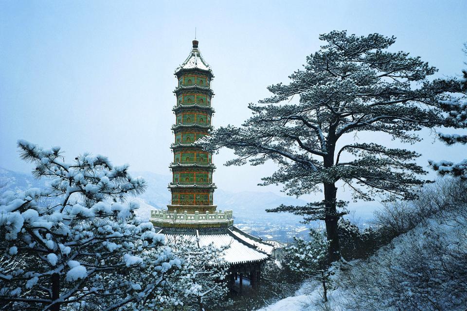 Le Parc des Collines parfumées (Xiangshan) , La pagode de la longévité , Chine