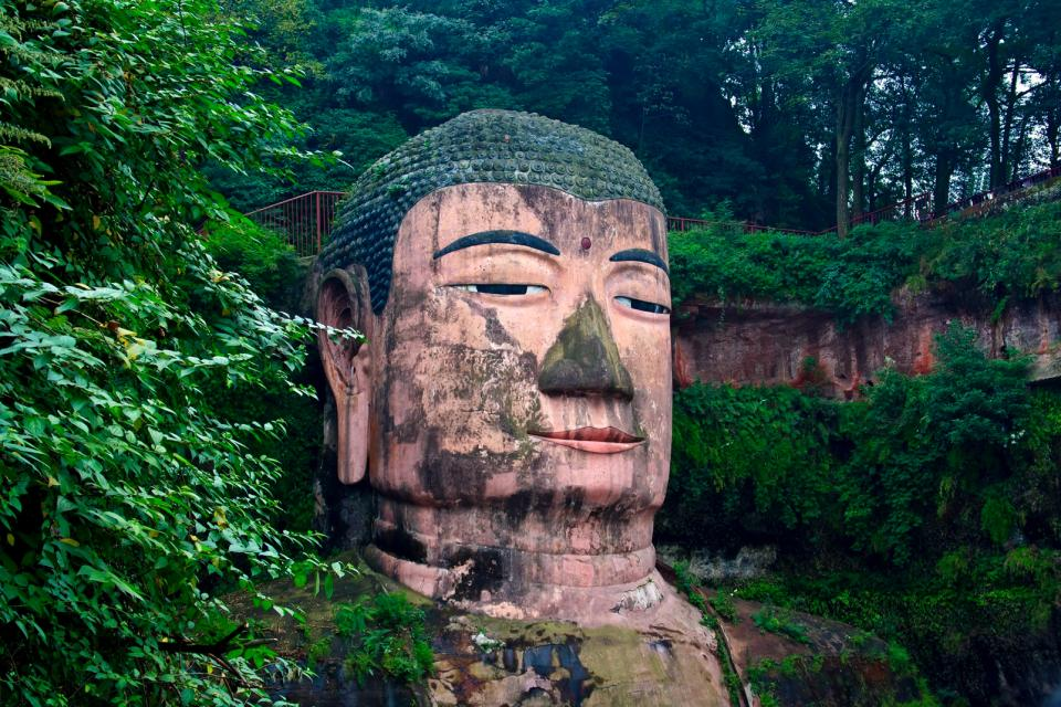 Le grand Bouddha de Leshan , Tête du bouddha géant , Chine