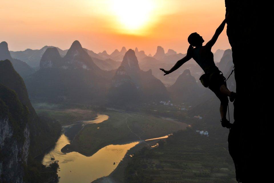 Les paysages, guilin, mont, chine, ouest, sport, escalade, varape, femme, karstique, lac, zhuang