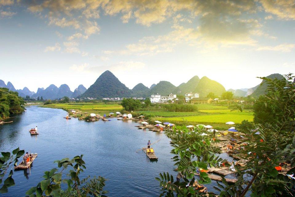 Les paysages, guilin, mont, chine, ouest, karstique, lac, zhuang, yangshuo, p?che, p?cheur, asie, tourisme, bateau