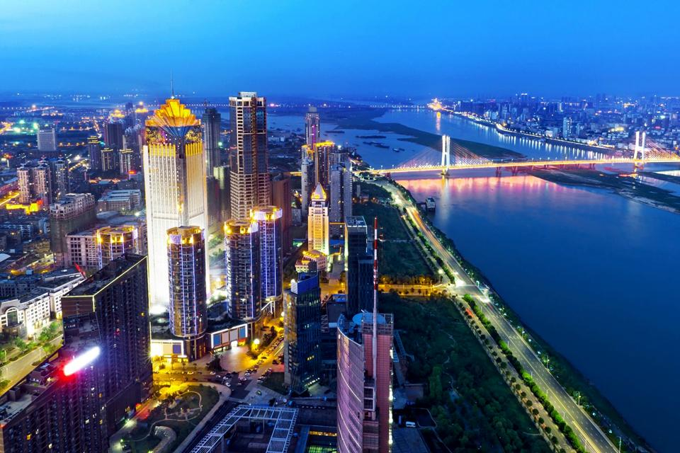 The skyscrapers in the Pudong District of Shanghai , China