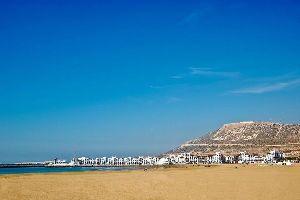 La playa de Agadir , Marruecos