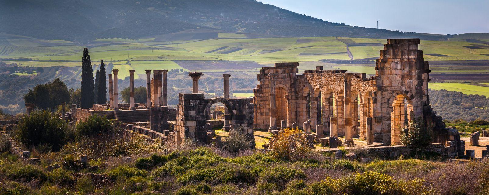 Ruinas romanas en tierras musulmanas, Las ruinas de Volubilis, Arte y cultura, Meknes, Marruecos el Centro