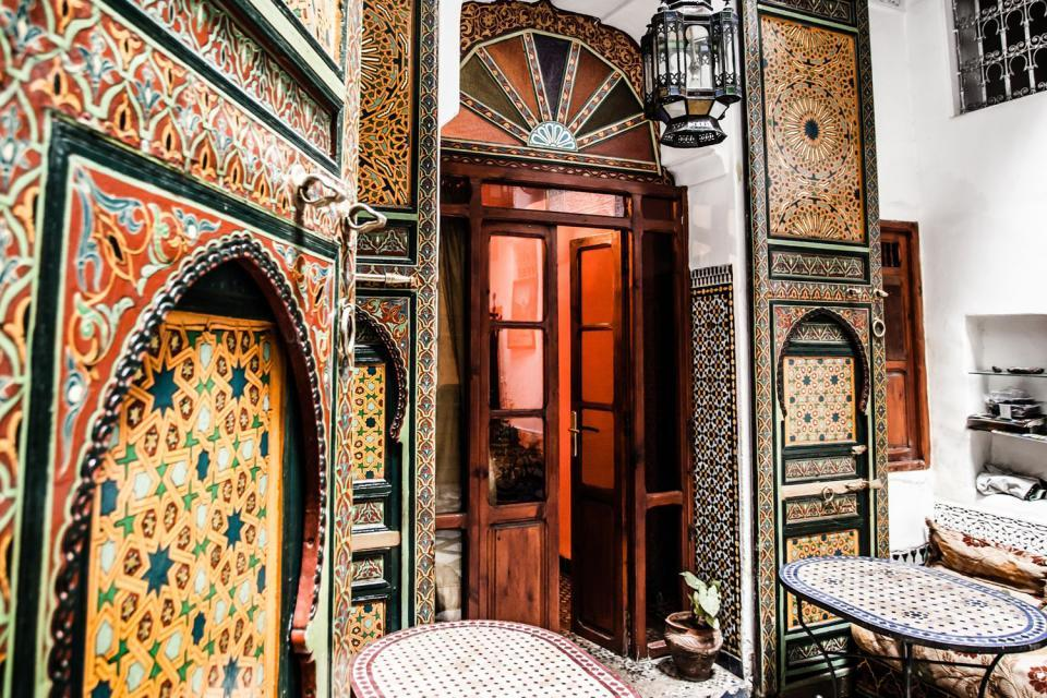 Dar-Batha Museum in Fez , Safeguarded traditional Fez art , Morocco