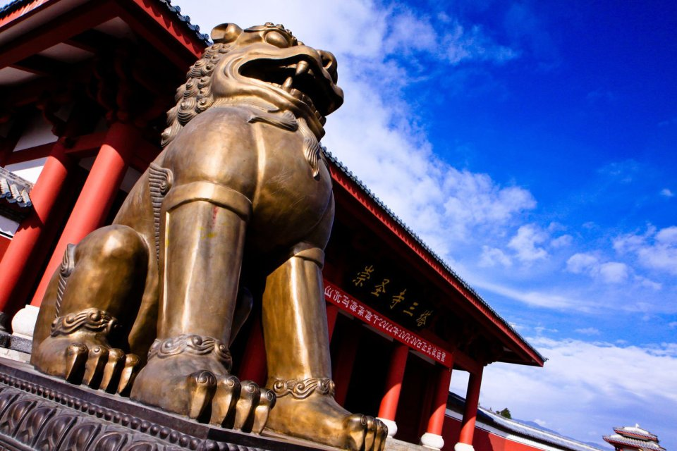 Chongsheng, Temple, Dali, Yunnan, chine, asie, pagode, bouddhisme, religion, culte, lion, sculpture