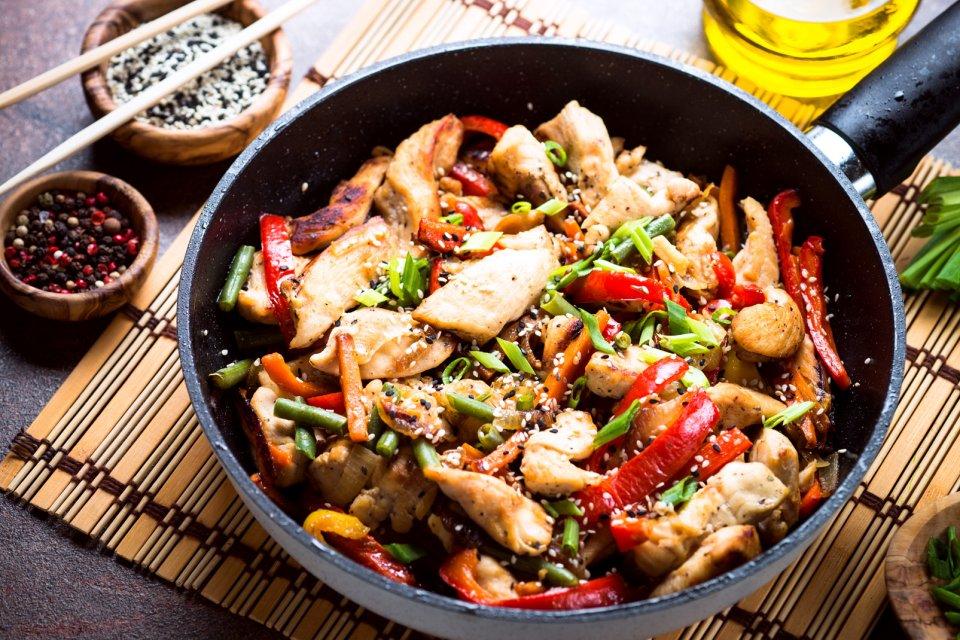 El pollo con pimientos , China