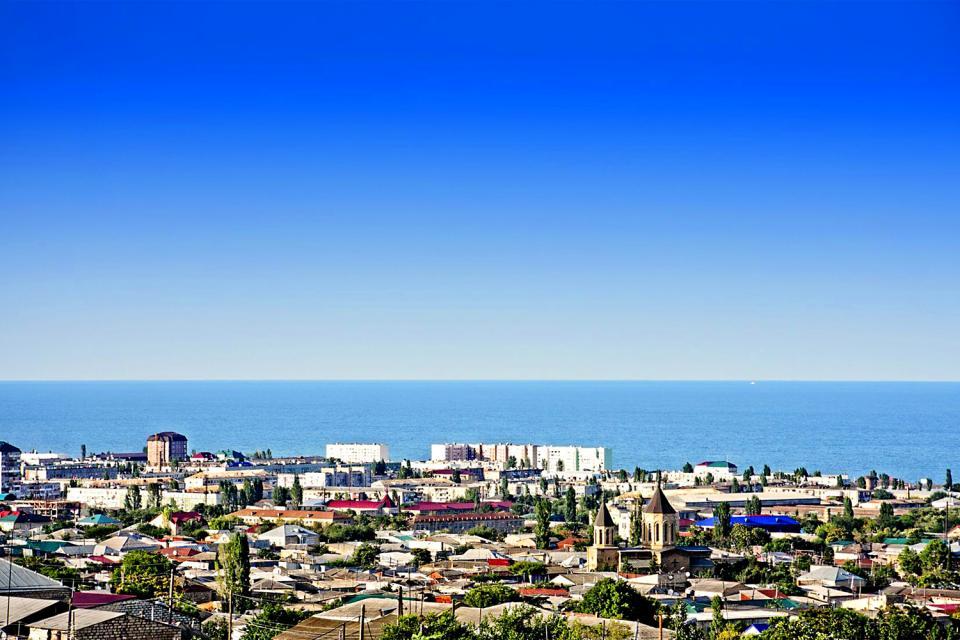 La côte Caspienne , Russia