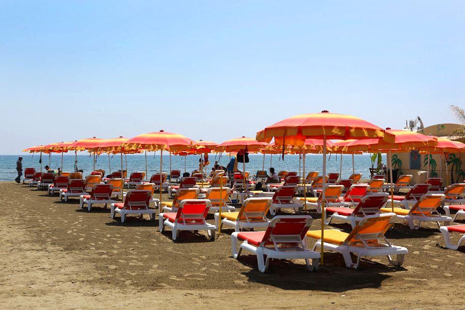 Larnaca Bay , A private beach in Larnaca , Cyprus