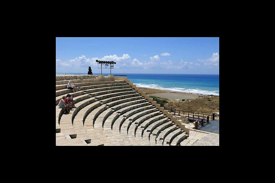 The archaeological site of Kourion , The Greco-Roman theatre of Kourion , Cyprus
