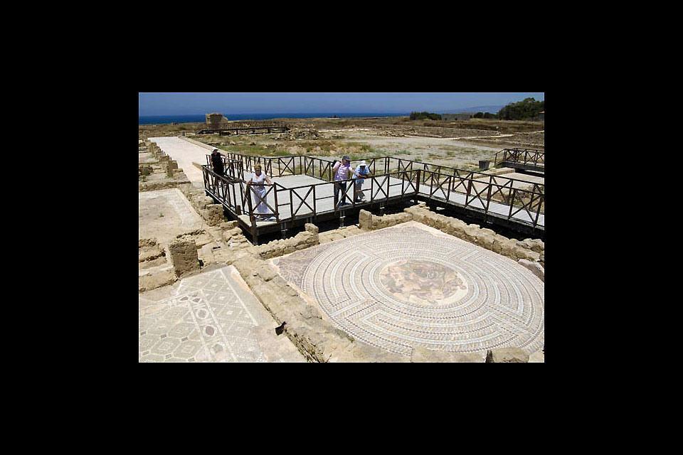 The archaeological site of Kourion , The Roman mosaics of Nea Paphos , Cyprus