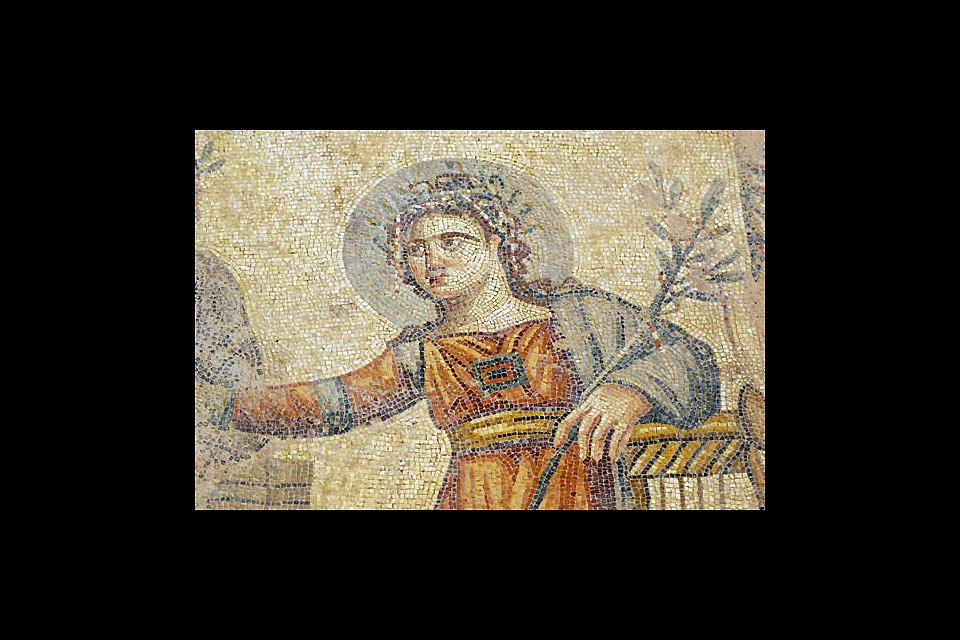 The archaeological site of Kourion , The mosaic of Apollo , Cyprus