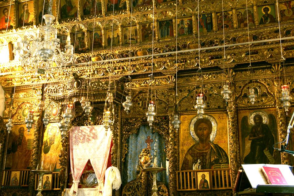The churches in the Troodos mountains , Gilded byzantine artifacts , Cyprus