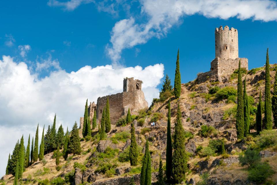 Le château de Lastours , Francia