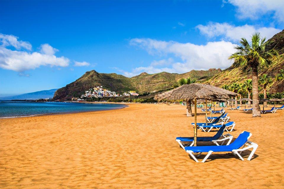 Les paysages, Playa de las Teresitas, Ténérife, femme, plage, espagne, canaries, europe