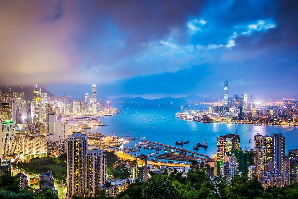 Le front de mer de Victoria Harbour , Hong Kong