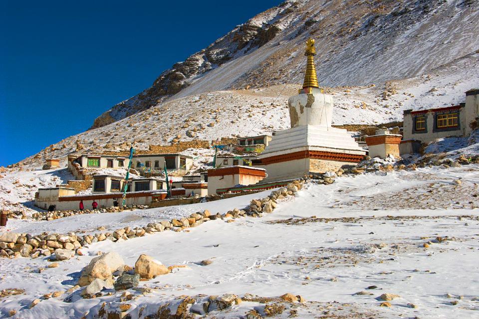 Le monastère de Rongbuk , Chine