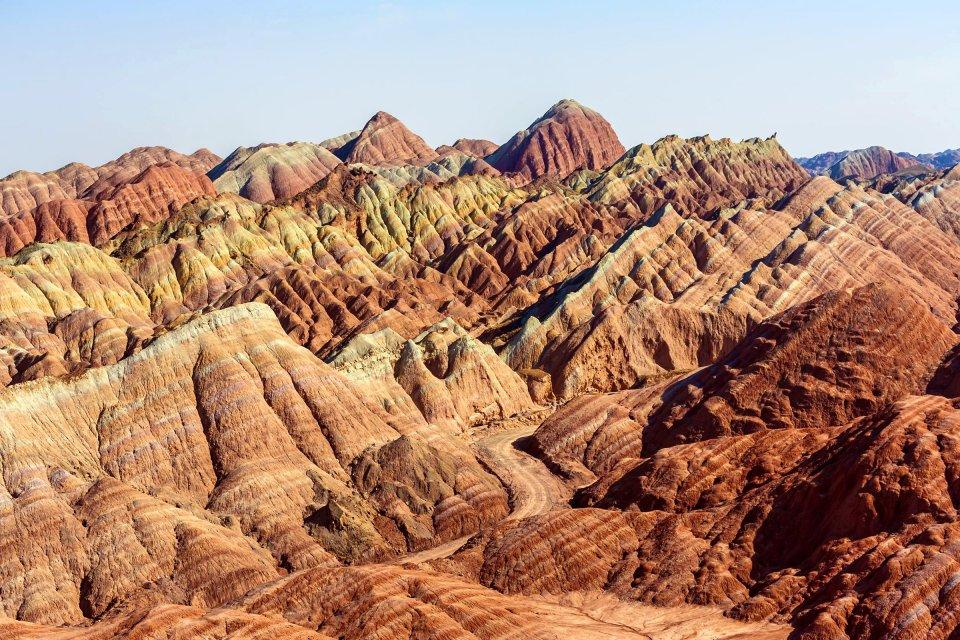 Les paysages, chine, asie, danxia, zhangye, gansu, montagne, grès
