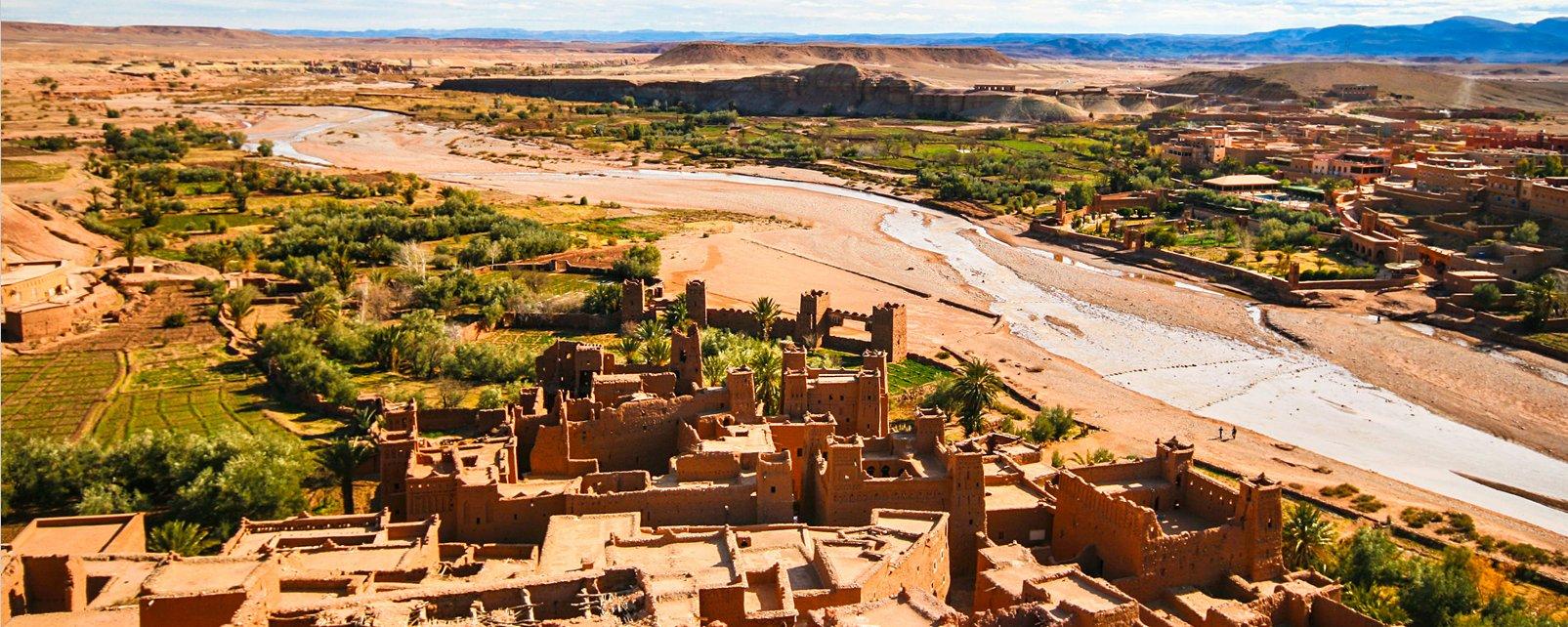 Vue de l'Oued, La vallée du Drâa, Les paysages, Ouarzazate, Maroc-le Centre