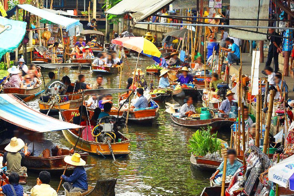 Les marchés flottants de Bangkok , Thaïlande
